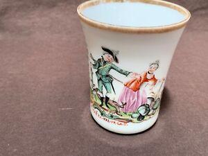 "Antique 18thC Bohemian milk glass beaker 3.6"" enamel allegorical Autumnus c1780"