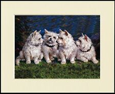 WESTIE WEST HIGHLAND WHITE TERRIER GROUP DOG PRINT MOUNTED READY TO FRAME