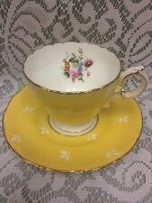 """CAULDON"" YELLOW/WHITE/ with FLOWERS Gold Trim TEACUP & SAUCER  Made in England"