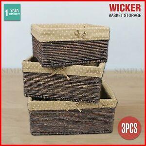 Wicker Cane Baskets Set Storage Box Small Medium Large Vintage Antique Picnic 3P