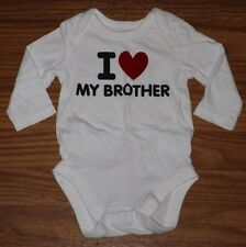 Children's Place Baby Girl Boy Size 0-3 Mo Long Sleeve Bodysuit LOVE BROTHER EUC