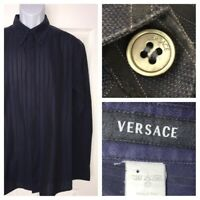 Gianni VERSACE SPA Italy Cotton Casual Dress Shirt Blue Size ??