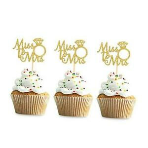 36PCS Miss to Mrs Cupcake Toppers Wedding Bridal Shower Engagement Party Gold