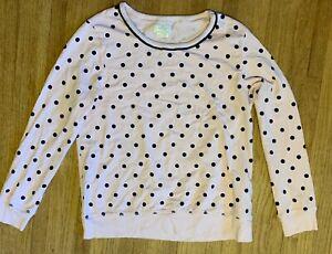 Kate Spade Dream  A Little Dream Long Sleeve Top Medium Pink with Blue Dots
