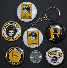 """Set of 5 1 1/2"""" Pinback Buttons Pittsburgh PIRATES + Key Chain Retro Keychain"""