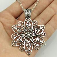Fashion Hollow Large Flower Pendant Charm Silver Necklace Chain Women Jewelry KI
