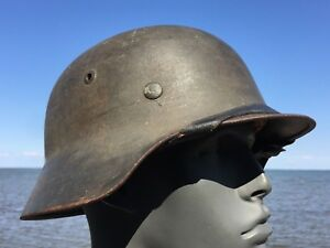 UNTOUCHED Original WW2 M-35 German Helmet 1938 Liner NS 66 Stamp In Crown WWII