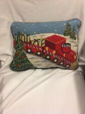 "Needlepoint  Christmas Train Holiday Throw Pillow Green 12x16"" Green Back"