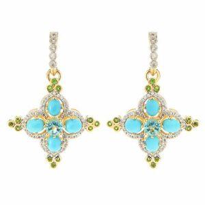 "Meher's Jewelry 1.5"" Apatite Turquoise & Multi Gemstone Flower Earring"