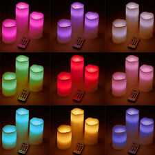 Set of 3 Flameless LED Battery Faux Wax Pillar Candles with Timer Remote Control