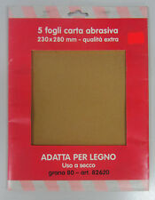 Oreca carta abrasiva x legno 5 fogli 230x280 mm grana media 82620 uso a secco