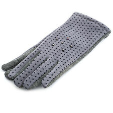 Ladies One Button Grey Spot Polyester Gloves with Beads AC28-GY