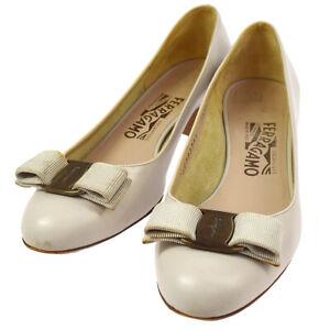 Salvatore Ferragamo Vara Bow Shoes Pumps Gray #6 C Vintage Authentic AK38109c