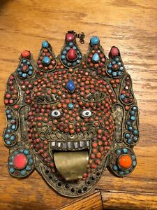 vintage tibetan handmade mask copper, turquoise and red coral