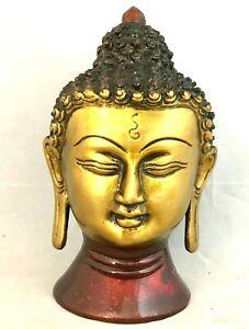 "Antique Finish Buddha Head HEAVY Budha Bust 5"" Heavy Brass"