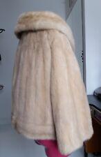 Donna Vintage Real Mink Fur Giacca Bolero Cappotto Biondo Miele bordo curvo in buonissima condizione M