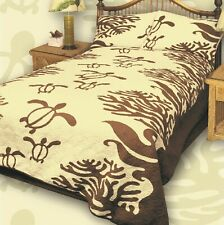 King Hawaiian Quilt comforter Bedspread Turtle with 2 shams KOA Brown