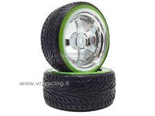 011B002D Coppia ruote complete di inserto 1/10 drift cerchio cromato argento VRX