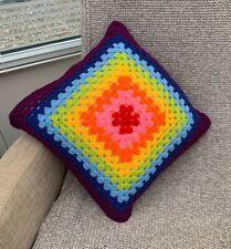 "Rainbow Handmade Crochet Cushion Pillow 16"" Square Vintage Style includes Insert"