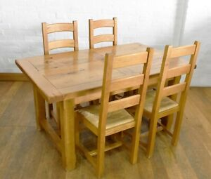 Rustic farmhouse OAK dining table and 4 chairs