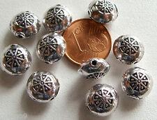 10 perles rondes disques métal argenté galets 10mm DIYcréation Bijoux MA91