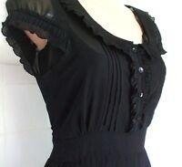 SIZE 8 10 40'S WW2 LANDGIRL VINTAGE STYLE TEA DRESS BLACK PLEATED # EU 38 US 6