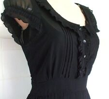 Tamaño 12 14 años 40 Segunda Guerra Mundial Landgirl estilo Vintage Té Vestido Negro Plisado EU 42 nos 10 #