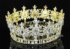 Men Pageant Party Tiara Full Circle Round Gold King Crown Crystal Wedding T1791