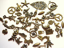 Job Mixed Antique Bronze Coloured Charms / Pendants Steampunk Cogs