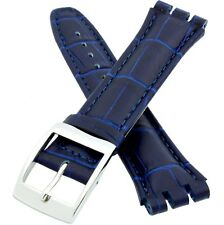 17MM (19MM) Genuine Leather Replacement for Swatch Watch Strap Band in Navy Blue