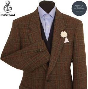 Harris Tweed Jacket Blazer 38R Windowpane Country Weave Hacking Hunting Brown