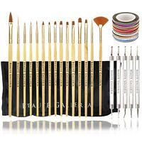 50pcs Nail Art Kit: Dotting Tool, Detail Liner Acrylic Gel Brush, Striping Tapes