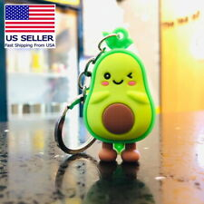 Cute 3D Avocado Cartoon Charactor Keychain Bag Purse Pvc Soft Kids Toy Pendant