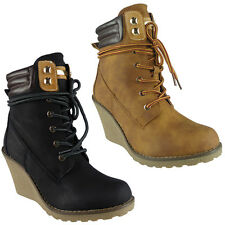 New Womens Ladies Lace Up High Top Wedge Heel Army Party Ankle Boots Shoes Size