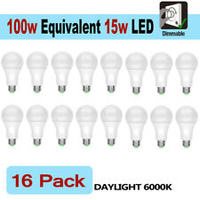 16 LED Light Bulbs 15W / 100W Replacement Daylight 6000K A19 Dimmable E26