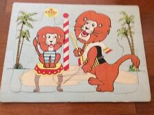Vintage 1960s BUILT RITE STA-N-PLACE FURRY PUZZLES Comic Circus Lions Complete