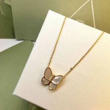 Collier Pendantif Lucky Papillon Nacre Veritable Blanc Plaqué Or 18K Class TRT1