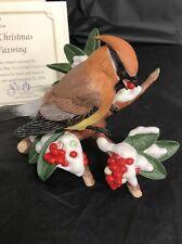 "2006 Lenox -""CHRISTMAS CEDAR WAXWING"" Porcelain Bird Figurine MINT in BOX W/ COA"