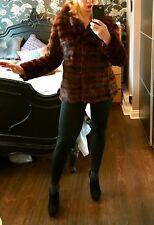 Vintage ladies brown stripy real fur short COAT / JACKET. 10 - 12