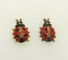 Vintage Gold Plated Ladybug Red and Black Spots LadyBird Fashion Stud Earrings