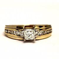 14k yellow gold IGI certified 1.06ct princess diamond engagement ring 5.3g