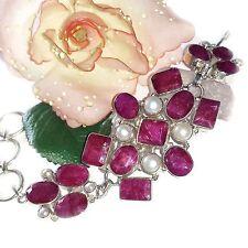 ARMBAND ECHT 925 Silber HANDARBEIT RUBIN Ruby Perle PEARL Bracelet