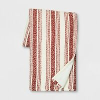 Threshold Stripe Boucle Reverse to Sherpa Throw Blanket Red