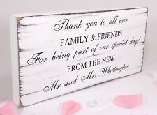 Wedding Thank You Sign Personalised Plaque Vintage Shabby & Chic