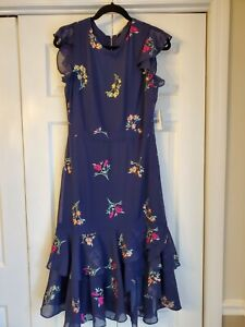WOMEN'S NAVY DRESS -  DANNY AND NICOLE - NAVY AND FLORAL - SIZE 10