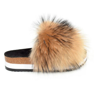 Platform Slides with Raccoon Fur High Sole Slippers With Fur Slip-On Sandals
