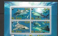 St Kitts Tiger Shark  set of 4 MINT NH
