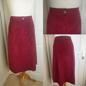 Vintage Size 12 Burgundy Red Soft Suede Feel A Line Midi Skirt