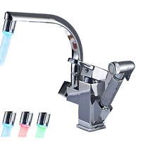 Küchenarmatur LED Wasserhahn mit Handbrause Spültischarmatur Einhandmischer