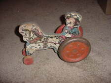 VINTAGE WOOD PULL TOY GONG BELL BEAR & HORSE 30s 40s